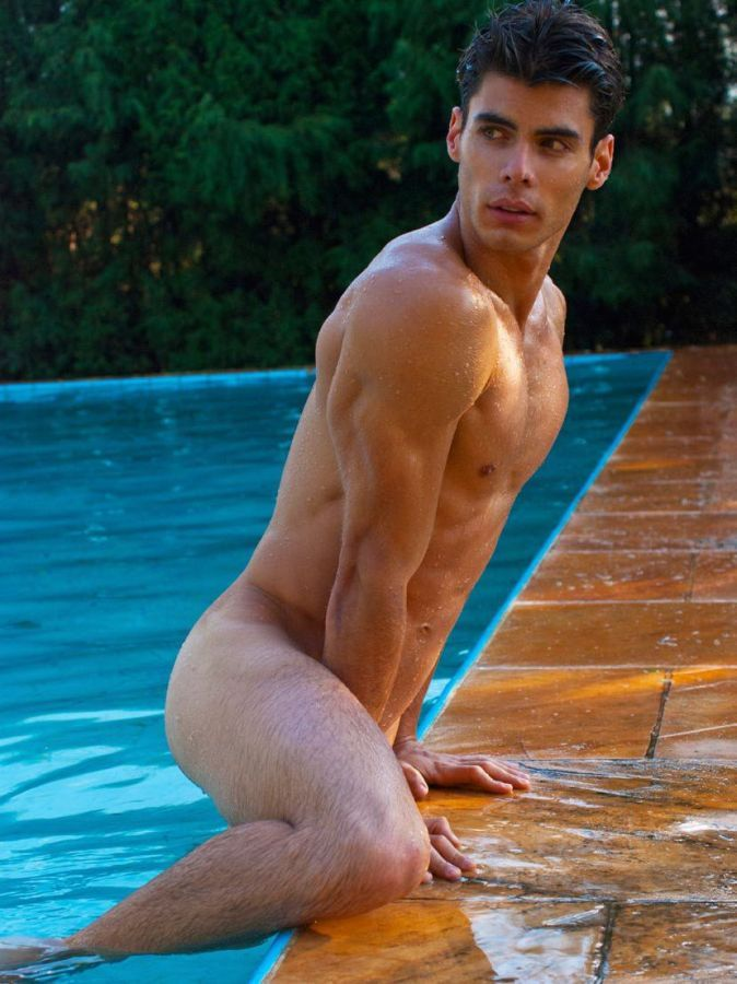 Men naked swimming pool