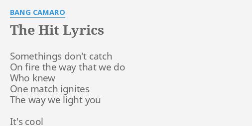Marine reccomend Bang camero pleasure lyrics