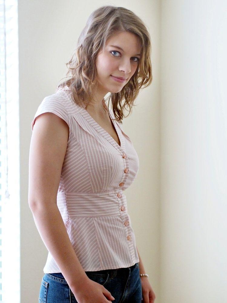 Looking down at womens tits