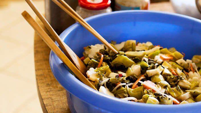 Masher reccomend Asian pickled vegetables