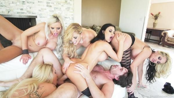 Five Hot And Sexy Redheads Banged Hard. Group sex video