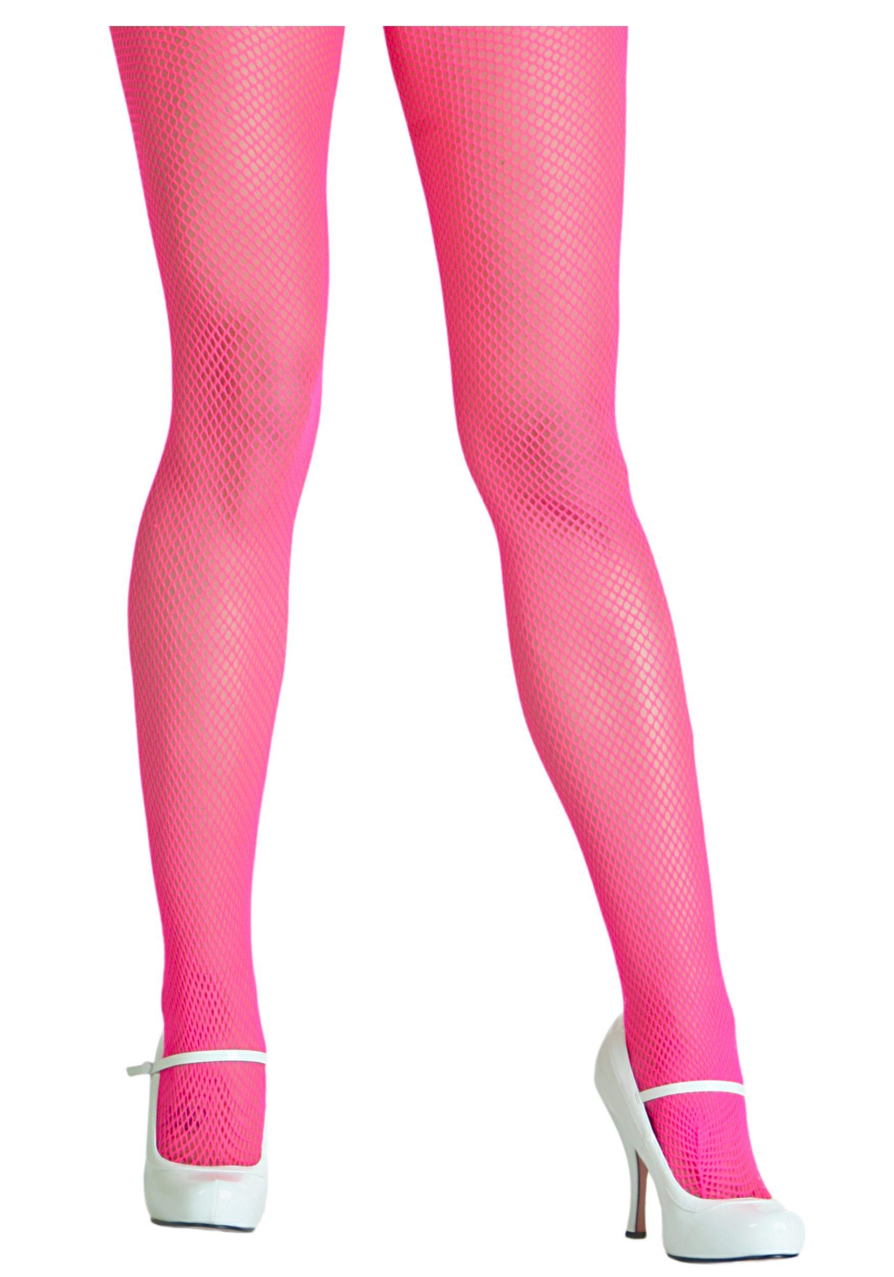 Pink net pantyhose