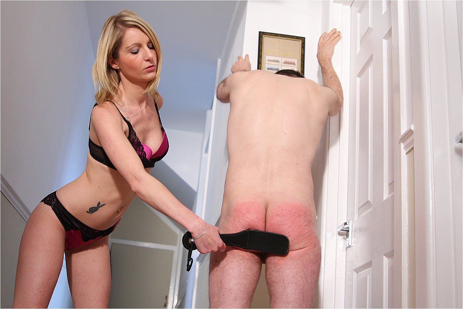 Hard female spank men