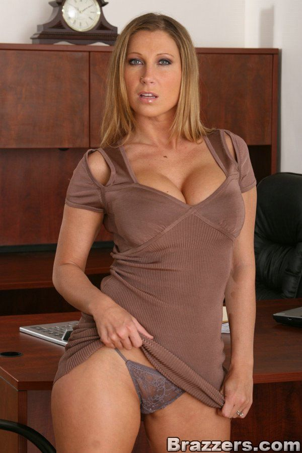 At strips busty work milf