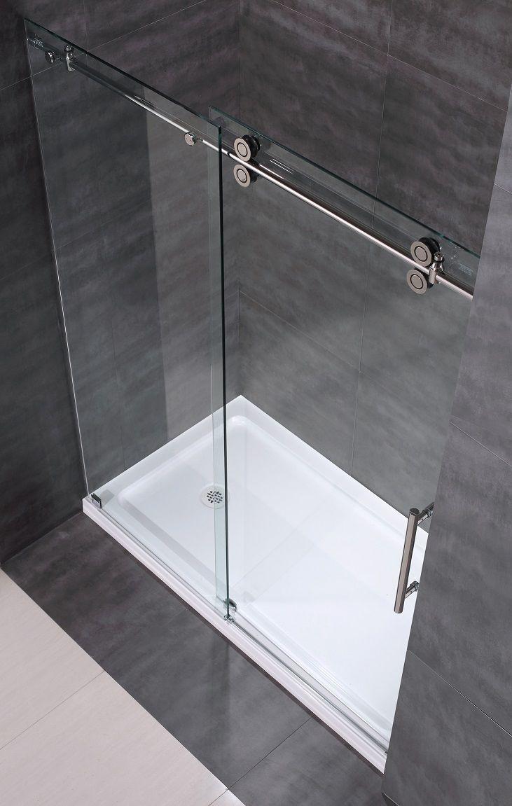 Glass shower door bottom sweep can