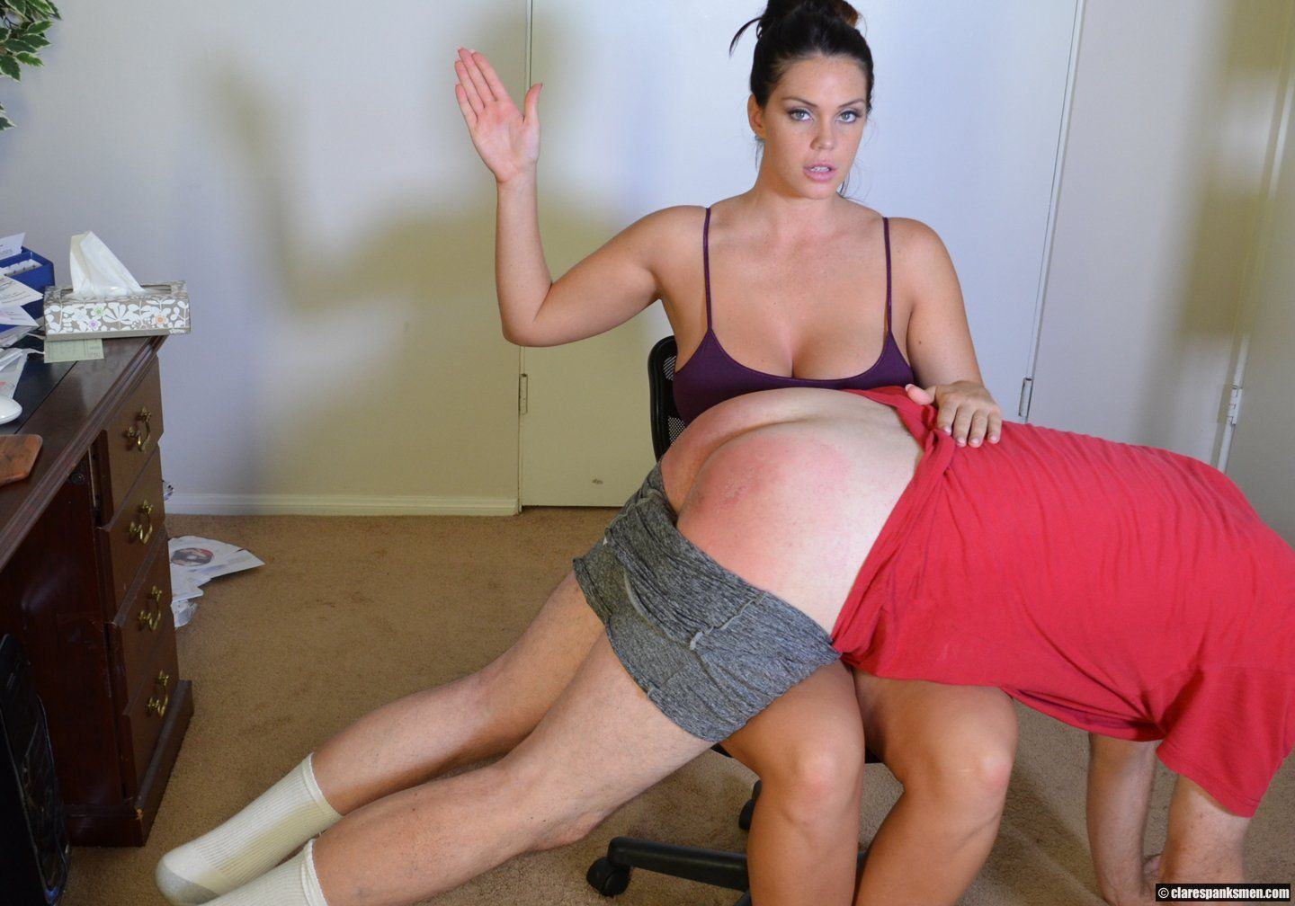 Smoke reccomend Dom domination fem knee over spanking