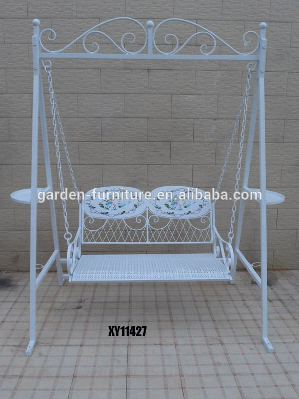 Metal swinging garden bench