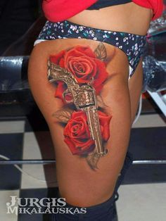 Adult betty boop tattoos with gun