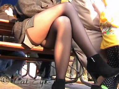 Crossed legs stockings upskirt