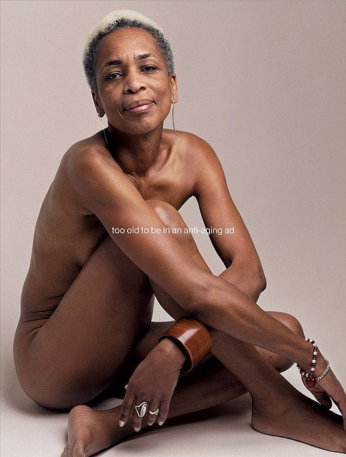 Nude photos of older women in black