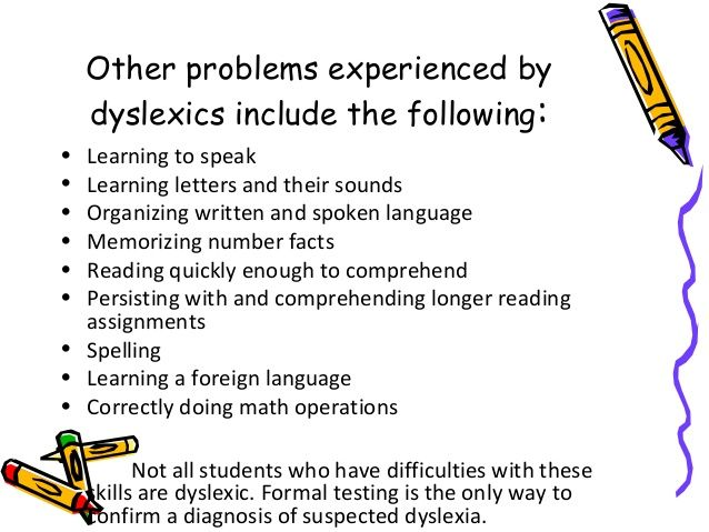 Dyslexia in adults of warning signs