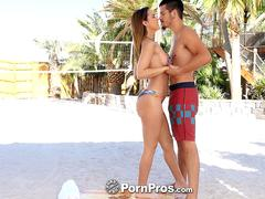 PORNPROS Outdoor massage and fuck with brunette Dillion Harper. Facials sex video