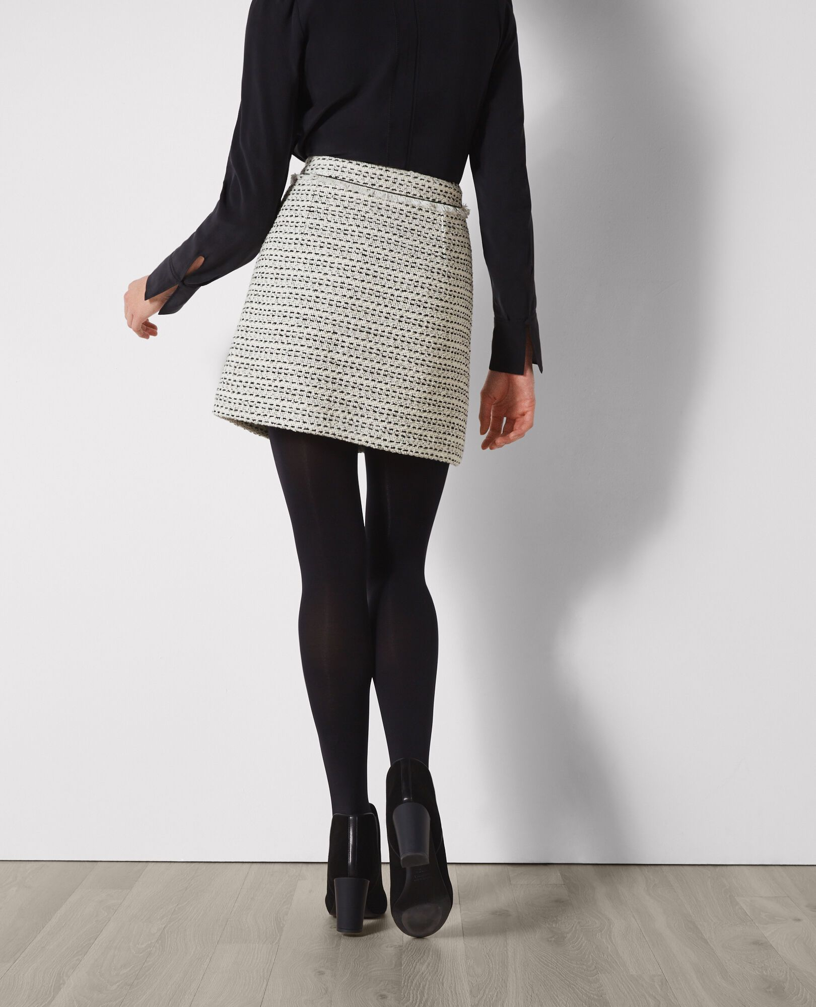 Dragonfly reccomend Black and white tweed skirt