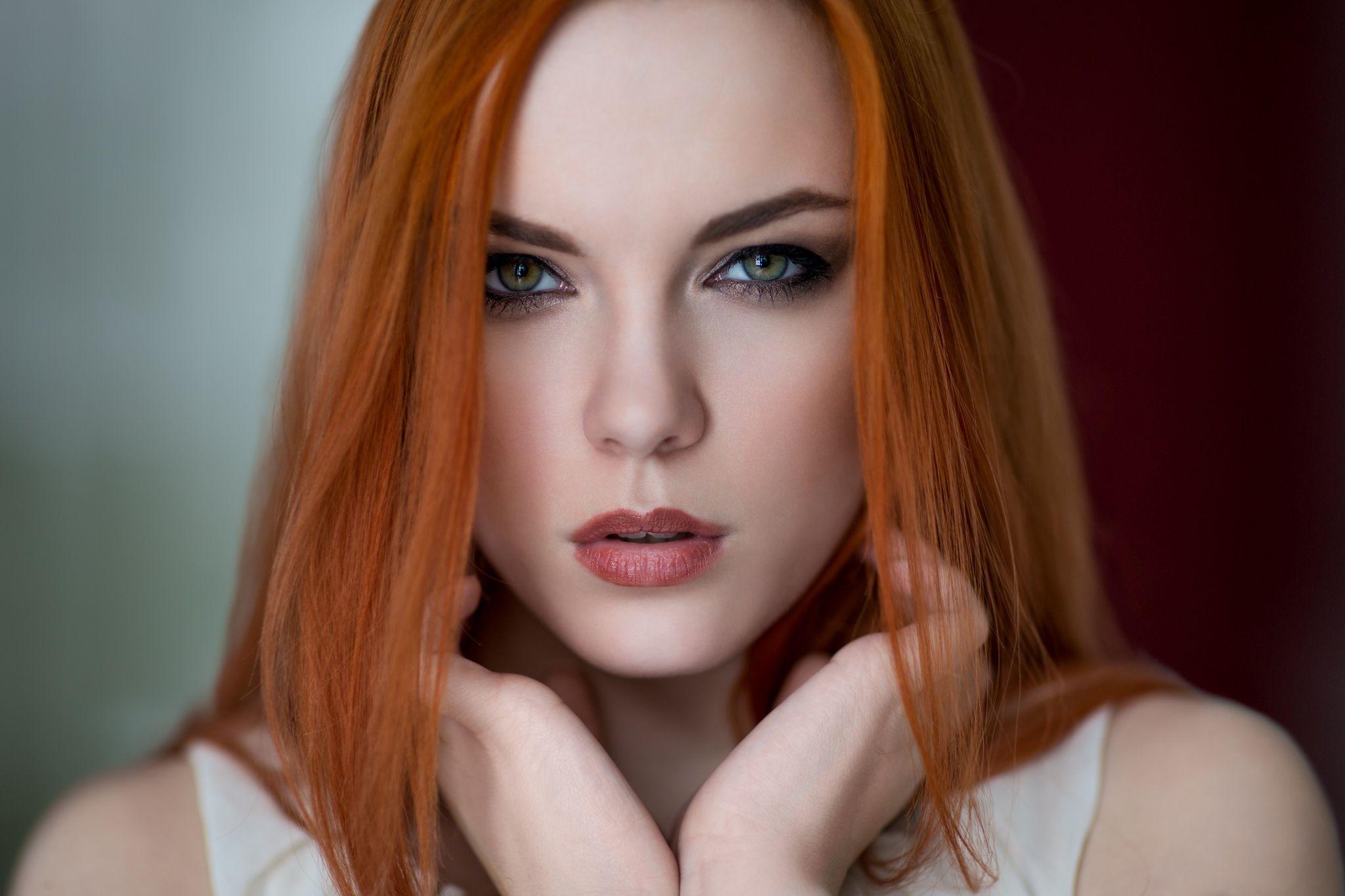 Eyes green redhead freckles