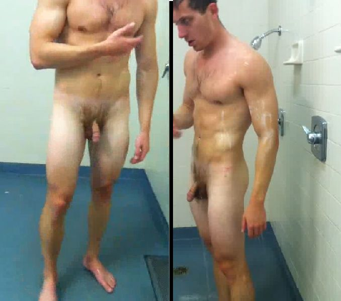 Nude men in gym shower